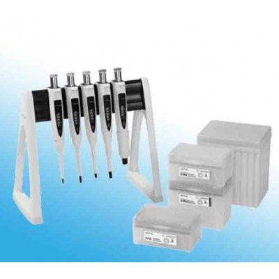 Набор из 5 шт дозаторов Biohit Proline Plus 0.5–10 мкл, 10–100 мкл, 20-200 мкл,100–1000 мкл, 500-5000 мкл + наконечники Optifit + линейная стойка Кат. № LH-728674