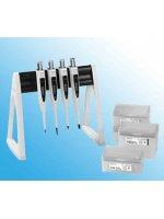 Набор из 4 шт дозаторов Biohit Proline Plus 0.5–10 мкл, 10–100 мкл, 20-200 мкл и 100–1000 мкл + наконечники Optifit + линейная стойка Кат. № LH-728673
