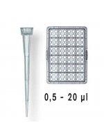 Наконечники PLASTIBRAND 0,5-20 мкл неокрашенные, нестерильные, россыпью 2 пакета по 1000 шт (Кат. № 732004)