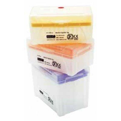 Наконечники Biohit, 10 мкл, (0,1-10 мкл), Optifit, длина 31,5 мм, стерильные, штативы в пласт. коробках, 96x10 шт. (Кат. № 790011)