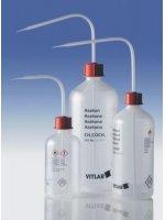 Промывалка узкогорлая, GL 25, гептан, 500 мл, безопасная, пластиковая PE-LD, VENT-CAP с винтовой крышкой PP (1332899) (Vitlab)